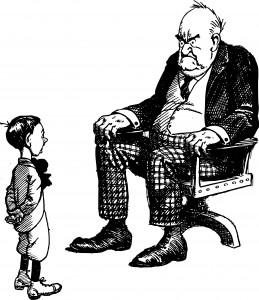 Grumpy old man and boy