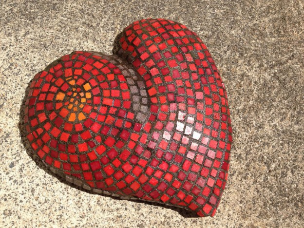 Red tile heart by Kathy Cowan