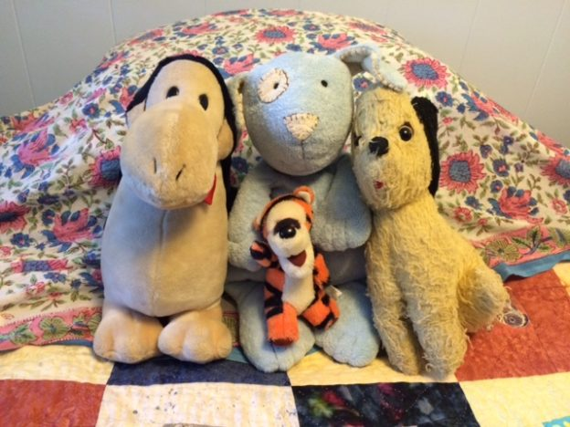 Opus, Tigger, Precious, and Cuddly Blue